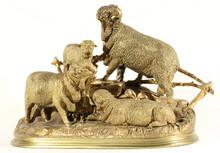 Jules MOIGNIEZ - Sculpture-Volume - Three Sheep and a Ram