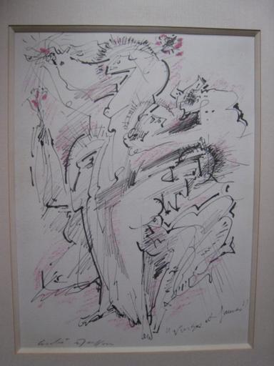 André MASSON - Disegno Acquarello - VIERGES ET FAUNES1965