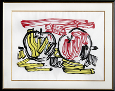 Roy LICHTENSTEIN - Grabado - Red Apple and Yellow Apple from Seven Apple Woodcuts Series
