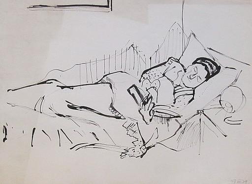 Erich HARTMANN - Disegno Acquarello - #19911: Im Bett lesende Frau.