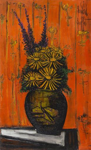 Bernard BUFFET - Gemälde - Bouquet au vase chinois, fond orange