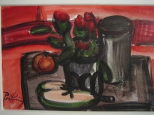 Franz PRIKING - Disegno Acquarello - Nature morte au vase