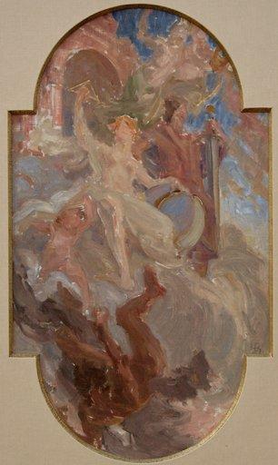 """Henri BONIS - Painting - ETUDE POUR UNE """"ALLEGORIE DU DROIT ET DE LA JUSTICE"""""""