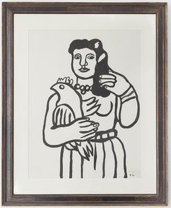 Fernand LÉGER - Dessin-Aquarelle - Femme a l'oiseau