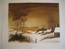 Bernard CHAROY - Grabado - Paysage d'hiver,1980.