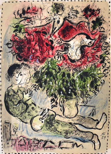 Marc CHAGALL - Stampa Multiplo - The Painter's Bouquet | Le bouquet de peintre