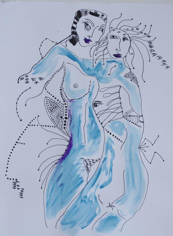 Greta CHAPIN-MCGILL - Dessin-Aquarelle - Sirens of Biot