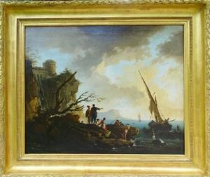 Joseph VERNET - Painting - Débarquement sur la côte Almafitaine