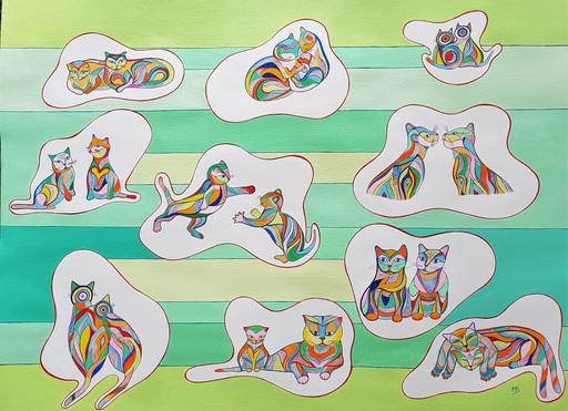 Monique BERTINA - Peinture - Duo de Chats