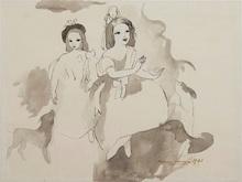 Marie LAURENCIN - Drawing-Watercolor - Deux fillettes aux chiens
