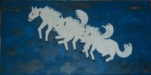 ATCHAMA - Painting - les 3 chevaux blancs