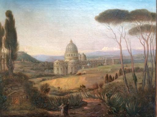 Franz Joh. Heinr. NADORP - Pintura - Blick auf Petersdom von Rom, Roma