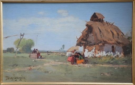 Gergely PÖRGE - Painting - czigany josno haza elott