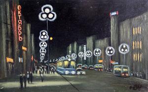 """Valeriy NESTEROV - Gemälde - """"Octiabr"""" cinema. Leningrad"""