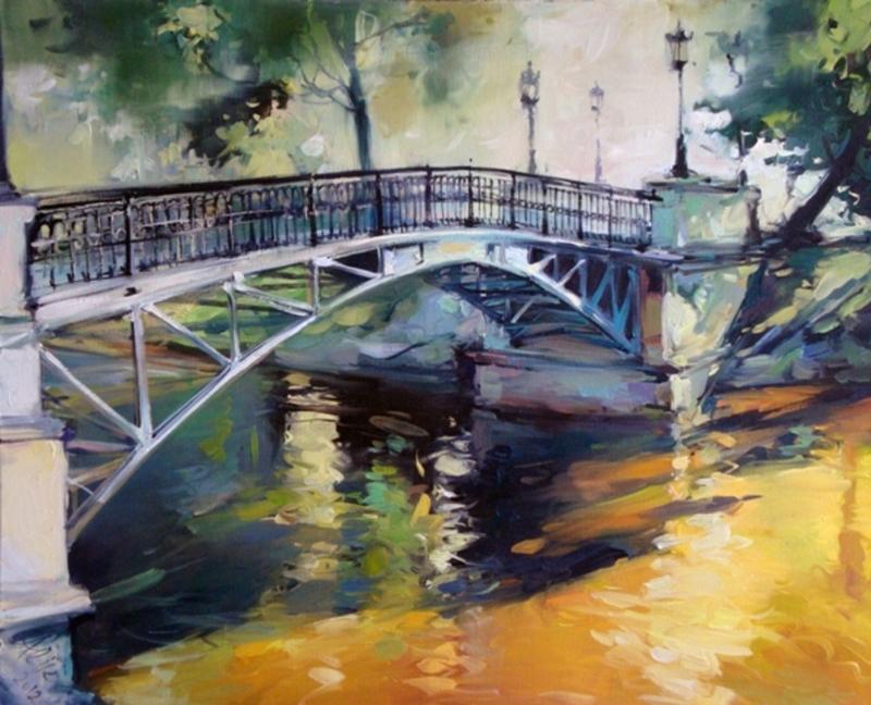 Alise MEDINA - Pintura - Bridge in Spring