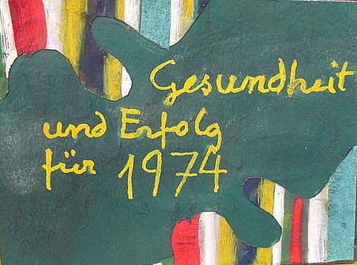Arnold FIEDLER - Dibujo Acuarela - Neujahrsgruß 1974