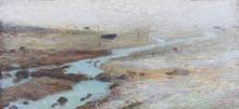 Henri MARTIN - Painting - Barque sur la grève à marée basse