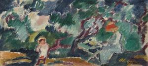 Louis VALTAT - Gemälde - Suzanne et Jean au jardin