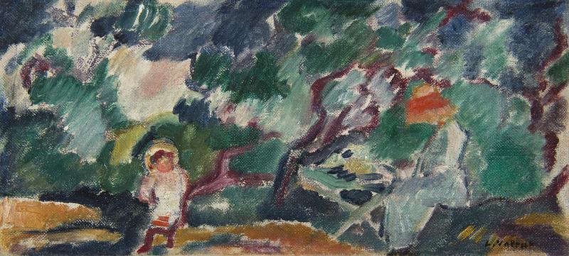 Louis VALTAT - Painting - Suzanne et Jean au jardin