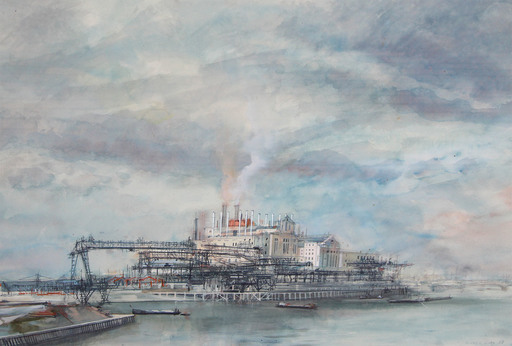Michel CIRY - Drawing-Watercolor - Vue d'Ivry, 1958