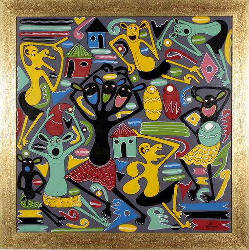 George LILANGA - Painting - Mapacha wichwa na ndugu zake