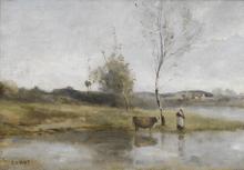 Camille Jean-Baptiste COROT (1796-1875) - L'Étang au bouleau et la vachère