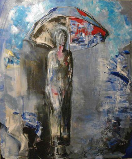 Violetta MALATERRE - Peinture - Solitude sous la pluie
