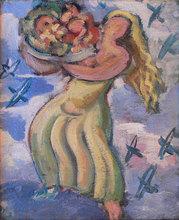 Jean SOUVERBIE - Pintura - Voluptuous Woman Bearing Fruit