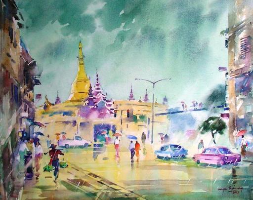 MYA THAUNG - Drawing-Watercolor - Sule pagoda in monsoon