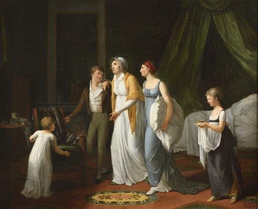 Constance M. Blondel CHARPENTIER - Painting - Une mère soignée par ses enfants