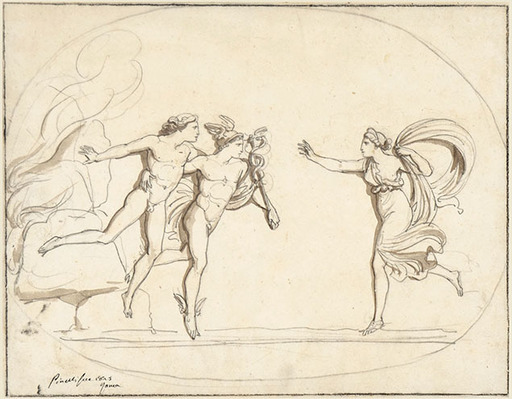 Bartolomeo PINELLI - Zeichnung Aquarell - HERMES BRINGS PROTESILAUS BACK TO HIS WIFE LAODAMIA FROM THE