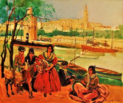 Lucienne CAPDEVIELLE - Pintura - Gitanos. El rio Guadalquivir, torre del oro. Sevilla