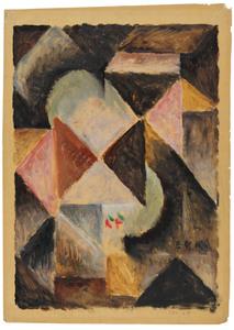 Edmund Daniel KINZINGER - Painting - Kubistische Komposition, 1919.