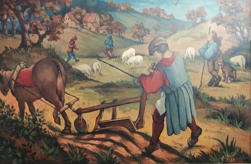 Edmond Amédée MELOT - Pintura - L'araire