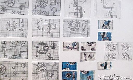 Arnold FIEDLER - Dessin-Aquarelle - Kreiskompositionen für Außenwand.