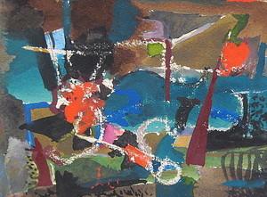 Erich HARTMANN - Disegno Acquarello - Abstrakte Komposition