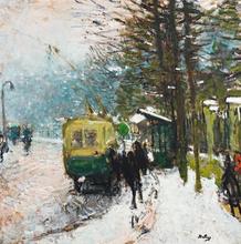 Pierre Eugène MONTEZIN - Painting - Le tramway sous la neige à Neuilly sur Seine