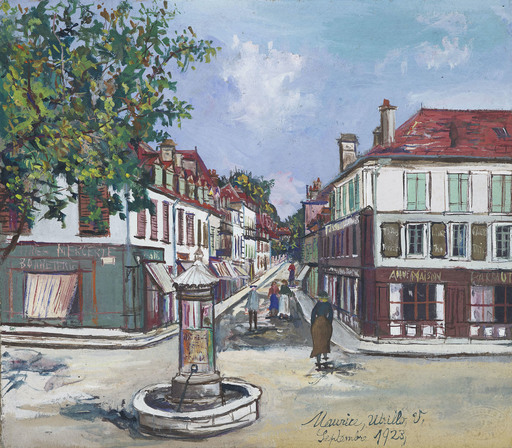 Maurice UTRILLO - Drawing-Watercolor - Place de village à Orthez
