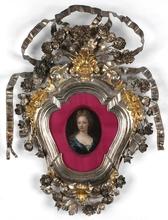 "Carlo MARATTI - Painting - ""Princess Olympia"", oil miniature in silver baroque frame"