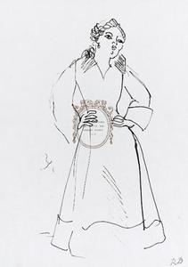 Raoul DUFY - Drawing-Watercolor - Woman in Elegant Dress / Design