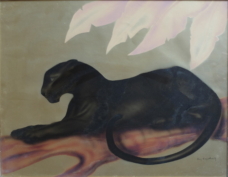 Hugh ENGELHARD - 水彩作品 - Panthère couchée