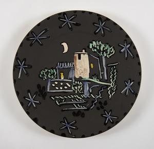 Pablo PICASSO - Céramique - Paysage à la maison sous la lune et les étoiles