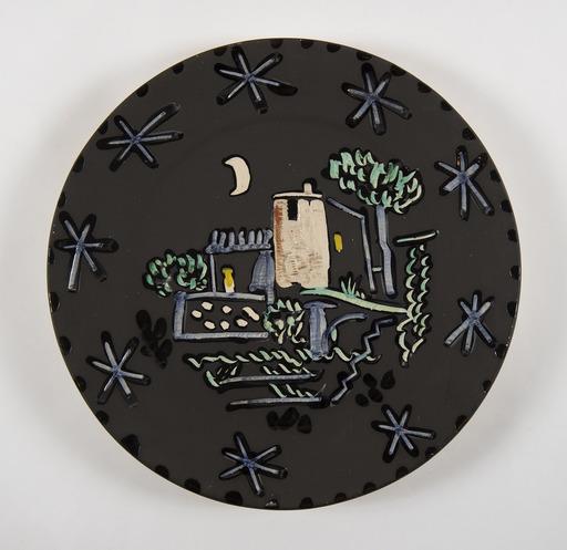 Pablo PICASSO - Ceramic - Paysage à la maison sous la lune et les étoiles