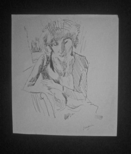 Jules PASCIN - Dibujo Acuarela - Hermine David accoudée