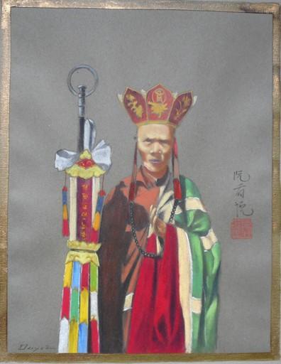 Nguyen Huu DUYET - Zeichnung Aquarell - TONKIN bonze annamite