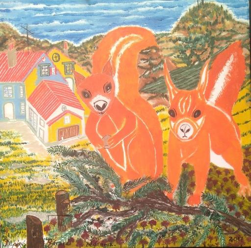 Gérard DUPIRÉ - Painting - Les écureuils