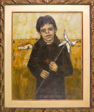 Hubertus Johannes MENGELS - Peinture - Boy with a Wind Toy