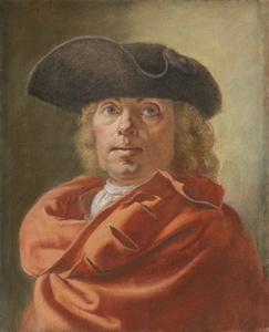 Antoine RIVALZ - Dibujo Acuarela - Autoportrait au manteau rouge et au tricorne