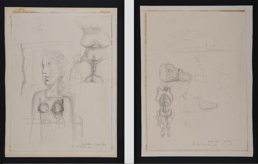 Salvador DALI - Drawing-Watercolor - Études pour le tableau Visage Paranoïaque (1935)
