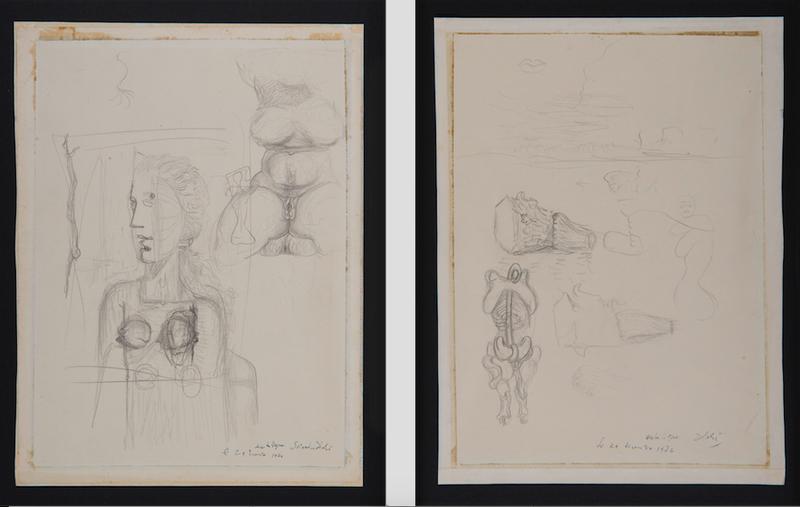 Salvador DALI - Drawing-Watercolor - Études pour le tableau Visage Paranoïaque